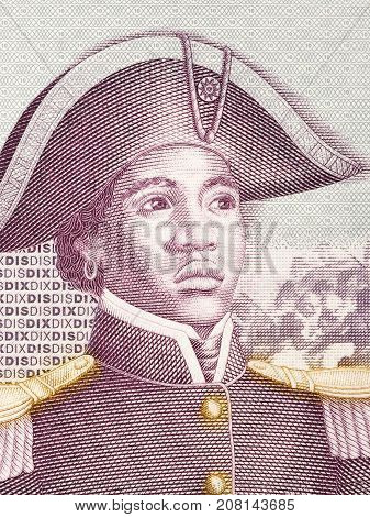 Sanite Belair portrait from Haitian money - Gourde