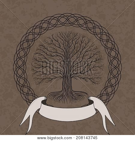 Druidic Yggdrasil tree at night round silhouette cream and brown grunge logo. Gothic ancient book style vector image