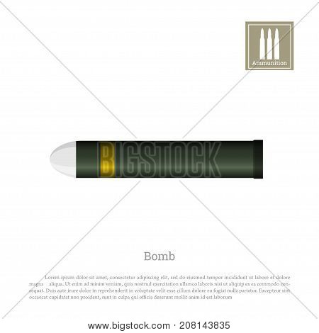 Projectile drawing on a white background. Warship weapon icon. Navy ammunition. Vector illustration