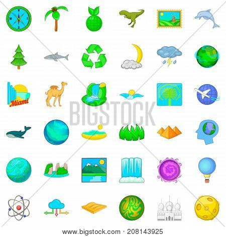 Globe icons set. Cartoon style of 36 globe vector icons for web isolated on white background