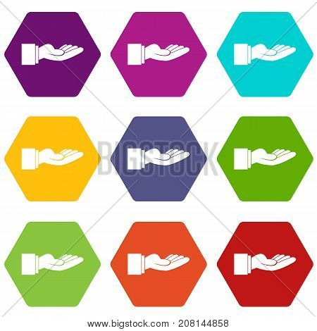 Outstretched hand gesture icon set many color hexahedron isolated on white vector illustration