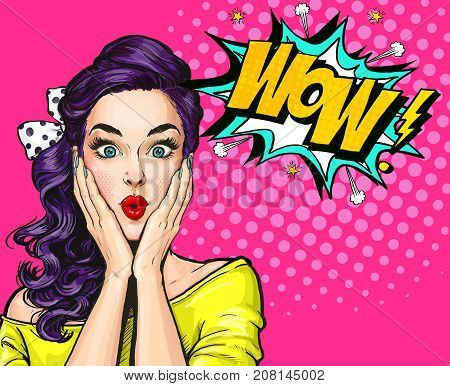 Pop Art illustration, surprised girl.Comic woman. Wow.Advertising poster. Pop Art girl. Party invitation. Birthday greeting card. Advertising poster. Romantic girl hiding her face. Pop art background