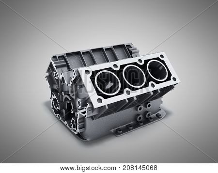 Cylinder Block From Car With V6 Engine 3D Render On A Grey Background