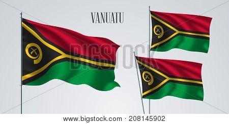 Vanuatu waving flag set of vector illustration. Red, green black stripes of Vanuatu wavy realistic flag as a patriotic symbol