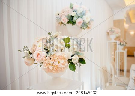 Table set for an event party or wedding reception flowers