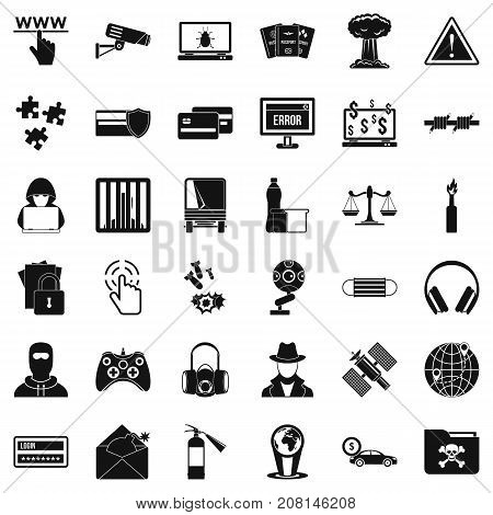 Crime icons set. Simple style of 36 crime vector icons for web isolated on white background