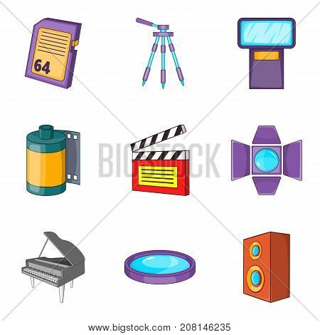 Record film icons set. Cartoon set of 9 record film vector icons for web isolated on white background