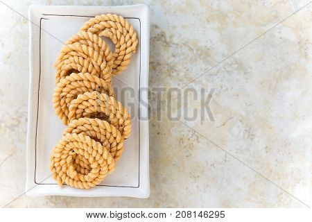 Chakli Or Murukku Popular Vegetarian Snack South India. Spiral Shaped Crisp Deep-fried Snack. Select