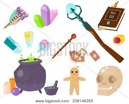Special magic effect trick occult esoteric magician wand and surprise entertainment fantasy carnival mystery tools cartoon miracle decoration vector illustration. Fun witchcraft spell event sign.