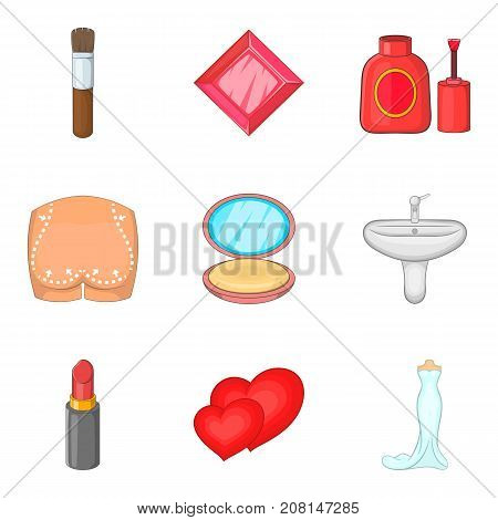 Operation icons set. Cartoon set of 9 operation vector icons for web isolated on white background