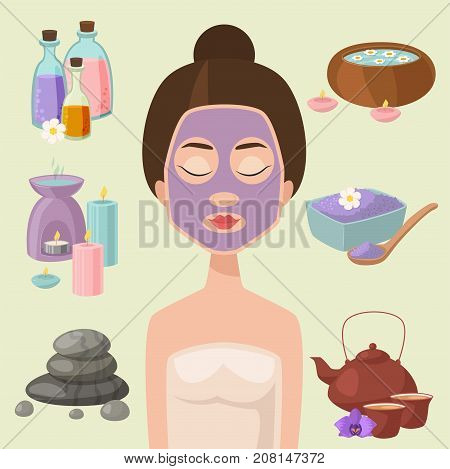 Vector illustrations of beautiful woman spa treatment, beauty procedures wellness icons. Herbal cosmetics aroma candles stones towels and lotus flower. Relaxation health herbal elements.