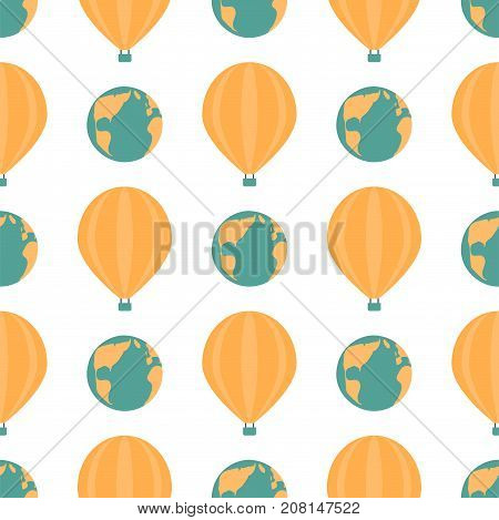 Globe earth geography element seamless pattern planet map symbol vector illustration. Education toy graphic sphere. Geography travel element graphic sphere pictogram application.