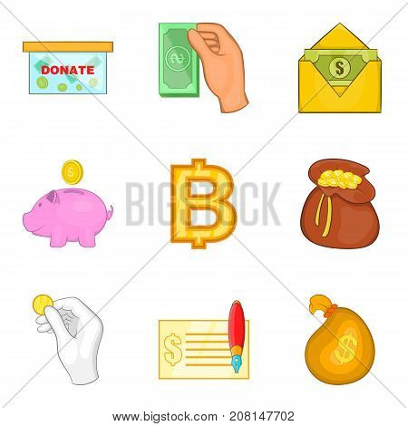 Accumulation fund icons set. Cartoon set of 9 accumulation fund vector icons for web isolated on white background