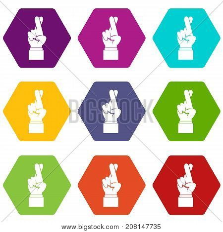 Fingers crossed icon set many color hexahedron isolated on white vector illustration