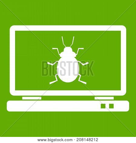 Laptop icon white isolated on green background. Vector illustration