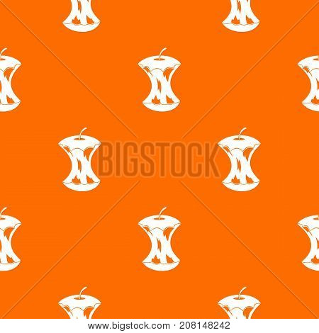 Apple core pattern repeat seamless in orange color for any design. Vector geometric illustration