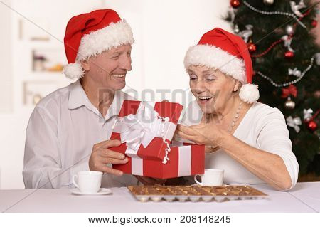 Portrait of smiling seniors celebrating Christmas at home. Man giving present to woman