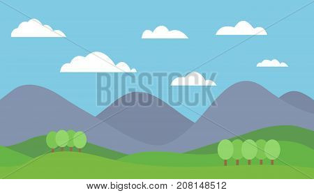 Cartoon colorful vector flat illustration of mountain landscape with meadow and trees under blue sky with clouds