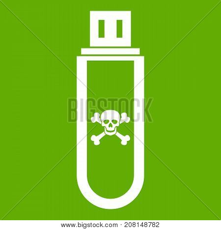 Infected USB flash drive icon white isolated on green background. Vector illustration