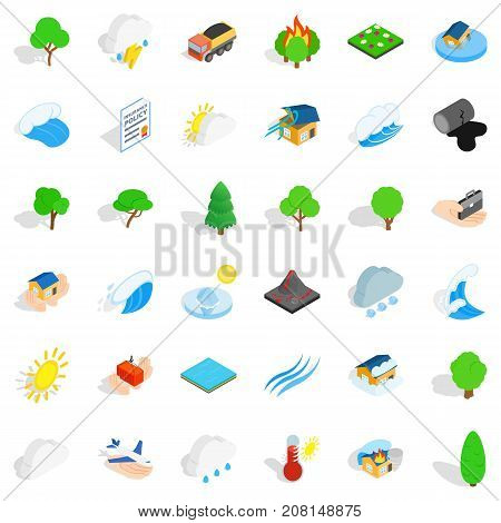 Hard storm icons set. Isometric style of 36 hard storm vector icons for web isolated on white background