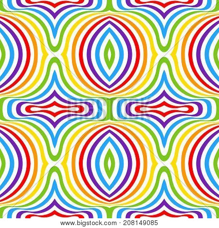 Rainbow opt art background. Seamless vector pattern. LGBT colors. Abstract geometric striped pattern. Vector illustration. Wavy pattern.
