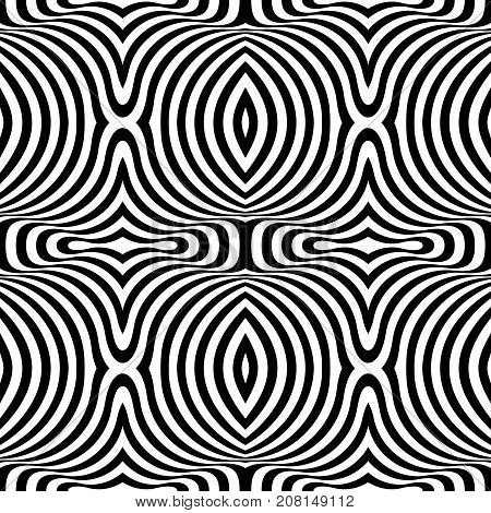 Black and white opt art seamless pattern. Abstract geometric striped pattern. Vector illustration. Wavy and striped background.