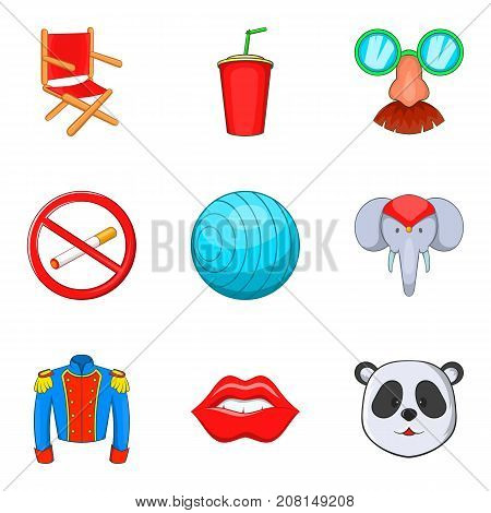 Joke icons set. Cartoon set of 9 joke vector icons for web isolated on white background