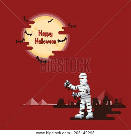 Happy Halloween mummy walking at night in a desert with coffins wreckage and pyramids under glowing full moon and flying bats with dark shadow on red background in cartoon style