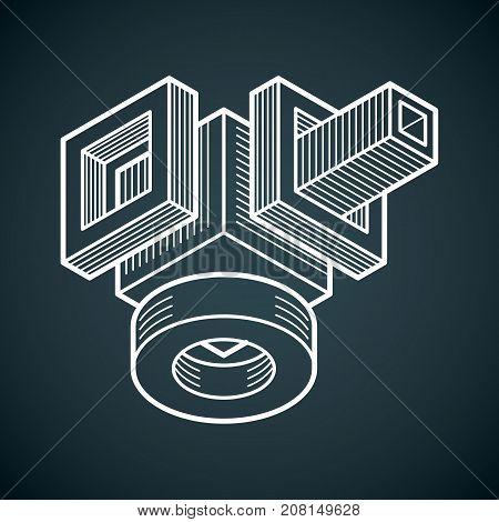 Engineering three-dimensional construction abstract vector trigonometric shape.