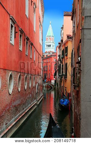 Gondolas in the Venice city Italy .