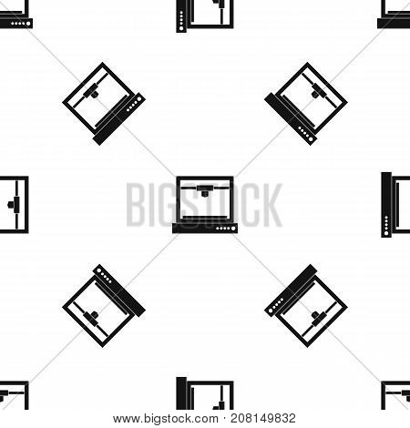 3d printer model pattern repeat seamless in black color for any design. Vector geometric illustration