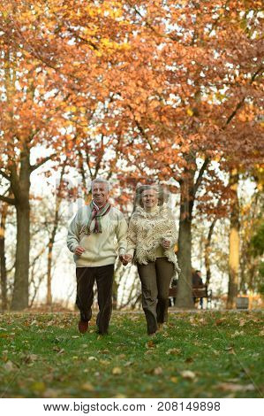 Senior couple running in casual clothing in park