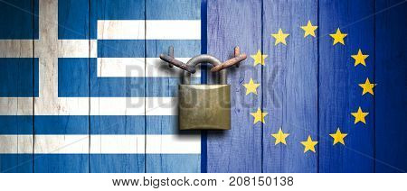 Greece And European Union Flags On Wooden Door With Padlock. 3D Illustration