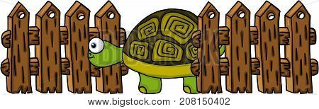 Scalable vectorial image representing a turtle going out of fence, isolated on white.