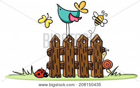 Scalable vectorial image representing a wooden fence with bird and bugs, isolated on white.