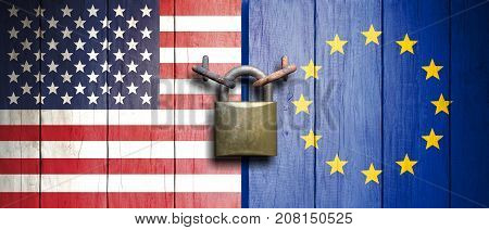 Usa And European Union Flags On Wooden Door With Padlock. 3D Illustration