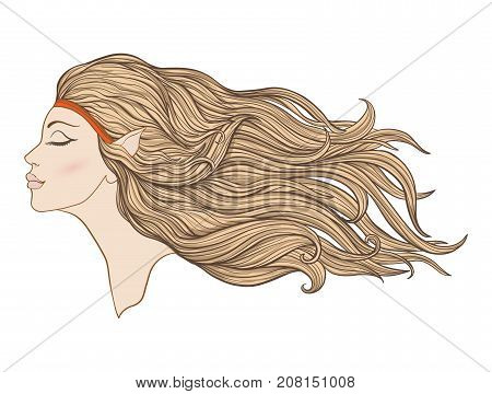 Young beautiful girl with elven ears and long hair in profile. Stock line vector illustration.