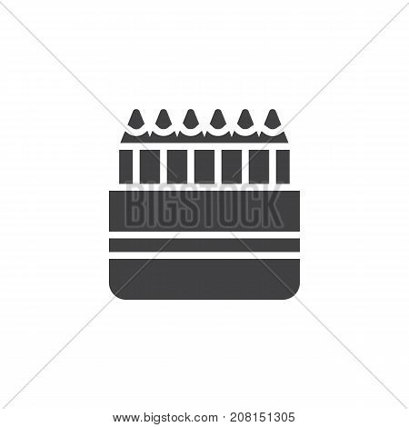 Colored pencils icon vector, filled flat sign, solid pictogram isolated on white. Crayons symbol, logo illustration.