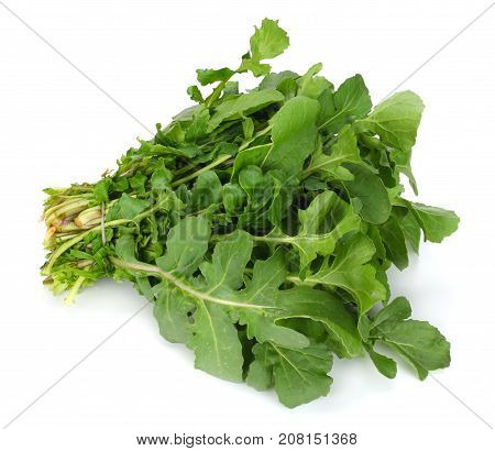 Green Fresh Rucola Leaves Isolated On White Background. Rocket Salad Or Arugula