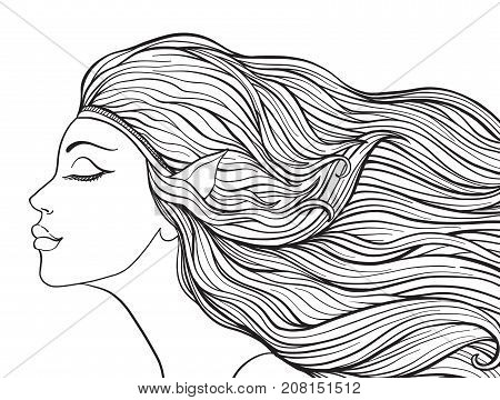 Young beautiful girl With elven ears and long hair. Stock line vector illustration. Outline drawing. Outline hand drawing coloring page for adult coloring book.