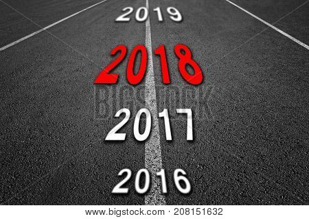 New 2018 Year Concept. 2018 New Year Road