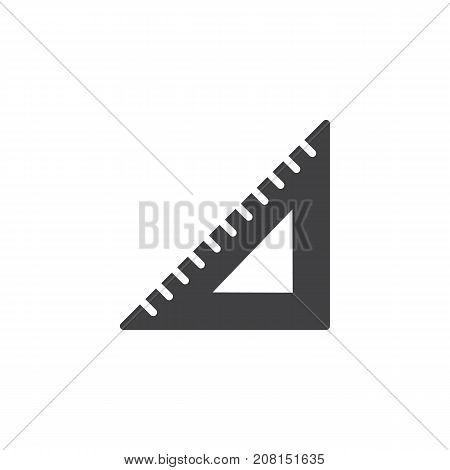 Triangular rule icon vector, filled flat sign, solid pictogram isolated on white. Symbol, logo illustration.