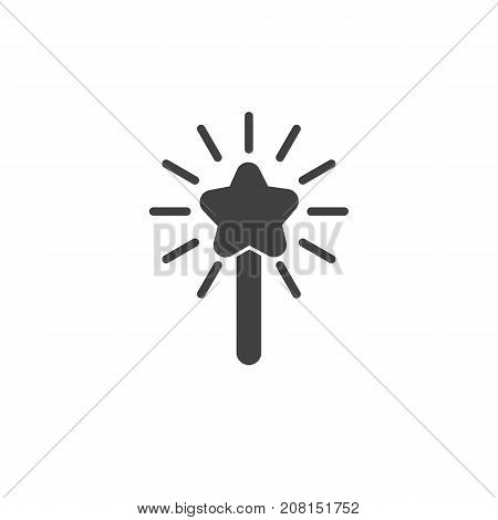 Magic wand icon vector, filled flat sign, solid pictogram isolated on white. Symbol, logo illustration.