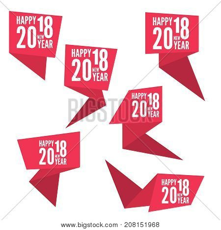 Set Ribbon banner with 2018 Happy new year. for greeting card, flyer, invitation, poster, brochure, banner, calendar, Christmas Meeting events. color red