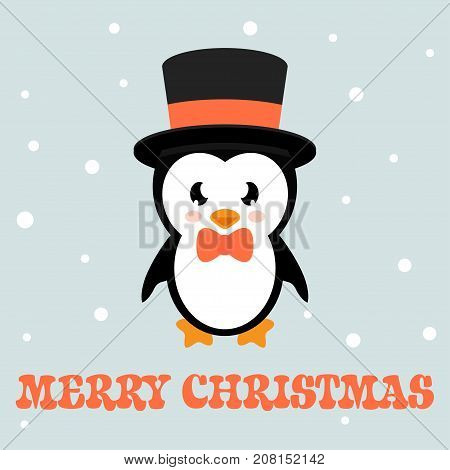 cartoon cute enguin with text and hat