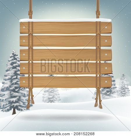 hang wood board with snow winter background