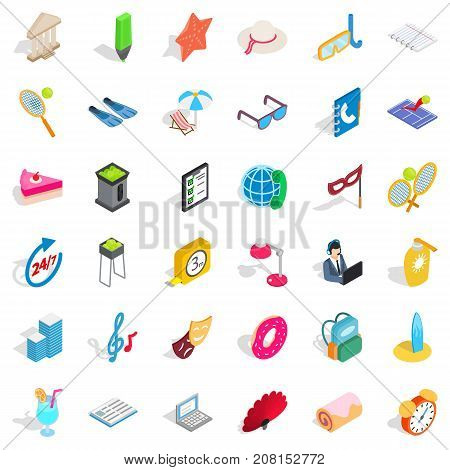 Show icons set. Isometric style of 36 show vector icons for web isolated on white background