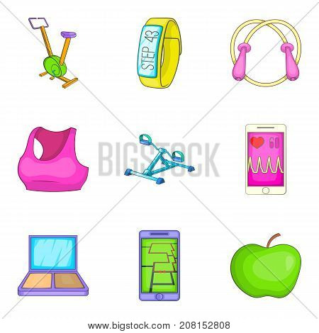 Fitness tracker icons set. Cartoon set of 9 fitness tracker vector icons for web isolated on white background poster