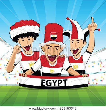 egypt Flag. Cheer football support Vector illustration.