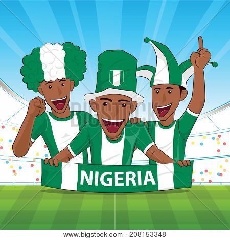 nigeria Flag. Cheer football support Vector illustration.